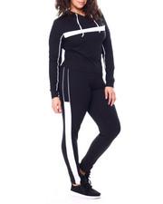 Sets - Stripe Jersey Hoodie & Legging Set (Plus)-2458824