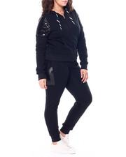 Sets - Sequin Accent Shoulder Front Zip Kangaroo Pocket Hoodie & Sequin Side Jogger Set (Plus)-2458994