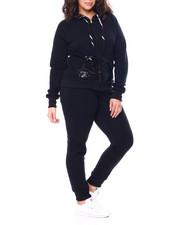Sets - Sequin Hood & Kangaroo Pocket Zip Front Hoodie & Jogger Set (Plus)-2458986