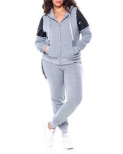 Sets - Sequin Accent Shoulder Front Zip Kangaroo Pocket Hoodie & Sequin Side Jogger Set (Plus)-2459032