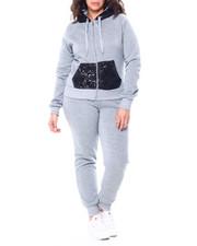 Sets - Sequin Hood & Kangaroo Pocket Zip Front Hoodie & Jogger Set (Plus)-2458976