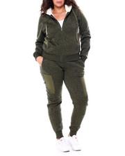Sets - Fur Lined Zip Front Hoodie & Moto Jogger Set (Plus)-2458941