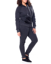 Sets - Sequin Hood & Kangaroo Pocket Zip Front Hoodie & Jogger Set (Plus)-2458990