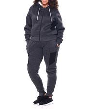 Sets - Fur Lined Zip Front Hoodie & Moto Jogger Set (Plus)-2459028