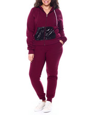 Sets - Sequin Hood & Kangaroo Pocket Zip Front Hoodie & Jogger Set (Plus)-2458929