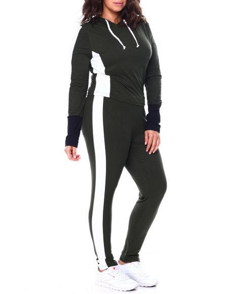Fashion Lab - Colorblock Jersey Hoodie & Legging Set (Plus)