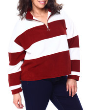 DEREK HEART - Polar Fleece Stripe Mock Neck Pullover W/Half Zip (Plus)-2458484