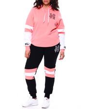 Fashion Lab - Love Color Block Hoodie & Jogger Set (Plus)-2459071