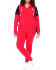 Sets - Sequin Accent Shoulder Front Zip Kangaroo Pocket Hoodie & Sequin Side Jogger Set (Plus)-2459020