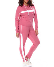 Fashion Lab - Stripe Jersey Hoodie & Legging Set (Plus)-2459192