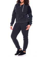 Sets - Sequin Accent Shoulder Front Zip Kangaroo Pocket Hoodie & Sequin Side Jogger Set (Plus)-2459024