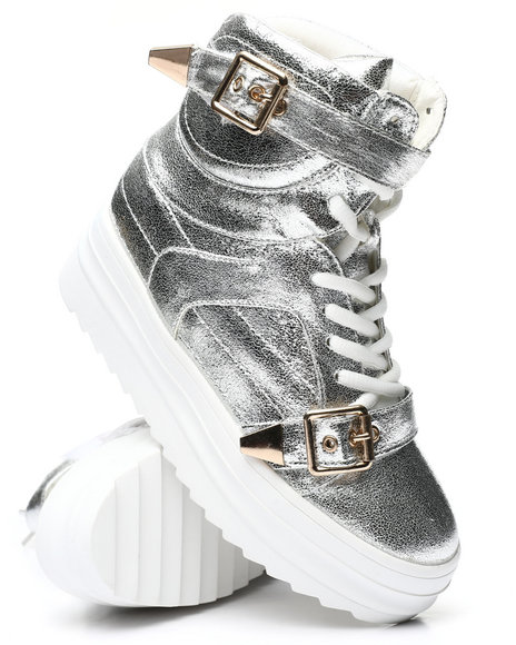 Fashion Lab - Buckle Strap High Top Metallic Sneakers