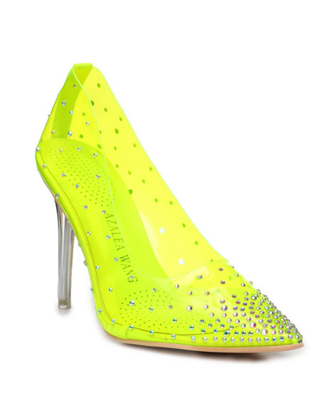 Azalea Wang - Neon PVC Rhinestone Heels