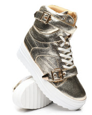 Footwear - Buckle Strap High Top Metallic Sneakers-2459057