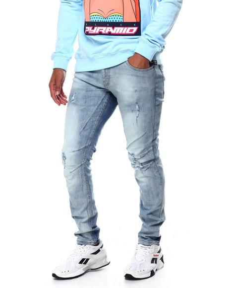 Copper Rivet - Ice Blue Jeans w Tear Detail