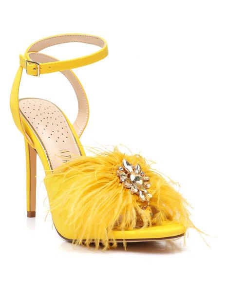 Azalea Wang - Feather Rhinestone Heels