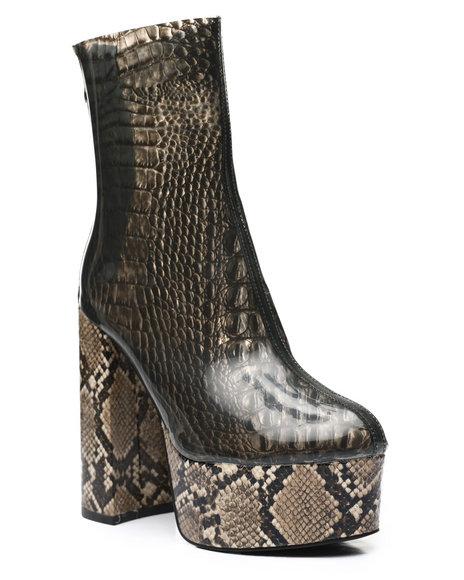Azalea Wang - Snake PVC Ankle Booties