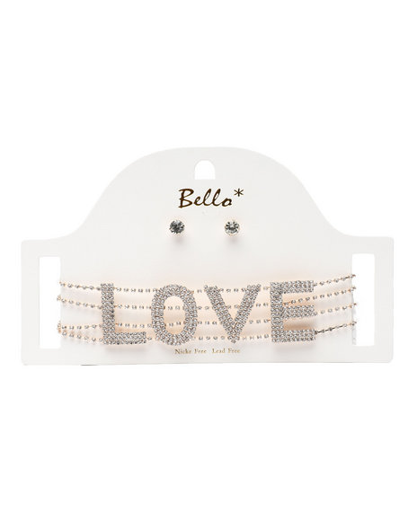 Fashion Lab - Love Word Choker & Earrings Set