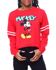 Graphix Gallery - Mickey Front & Back Print Athletic Long Sleeve Shirt-2459831