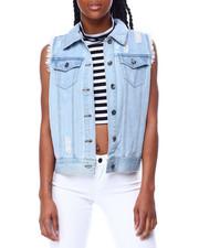 Denim Jackets - Distressed Denim Vest-2442080