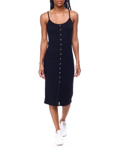 Fashion Lab - Spaghetti Strap Front Button Closure Dress