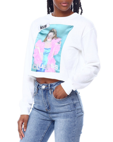 Graphix Gallery - Clueless As If Satin Patch Skimmer Sweatshirt
