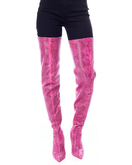 Azalea Wang - Snake Thigh High Boots