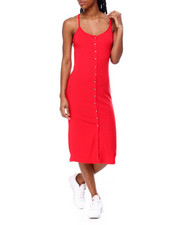 Fashion Lab - Spaghetti Strap Front Button Closure Dress-2459053