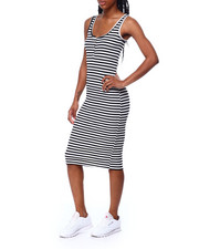 Fashion Lab - S/S Stripe V Button Front Dress-2459097