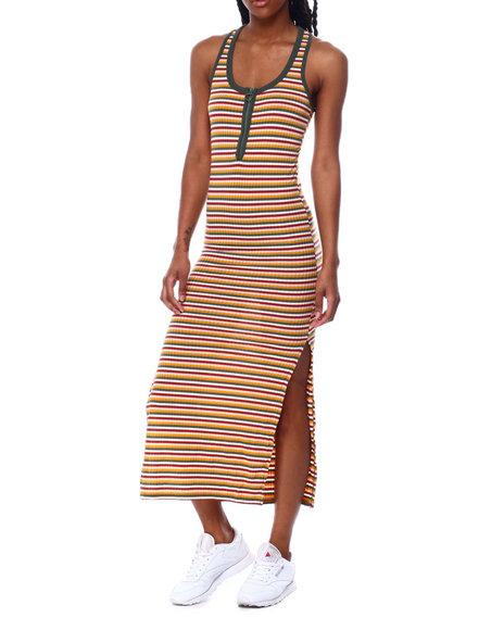 Fashion Lab - Rib Stripe Racer Bk Front Zip Dress