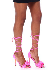 Azalea Wang - Neon 3D Rose Lace Up Heels-2460093