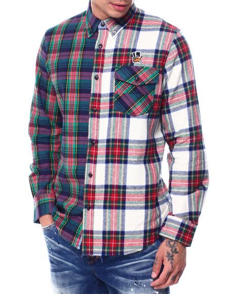 AKOO - hidden split plaid ls woven shirt