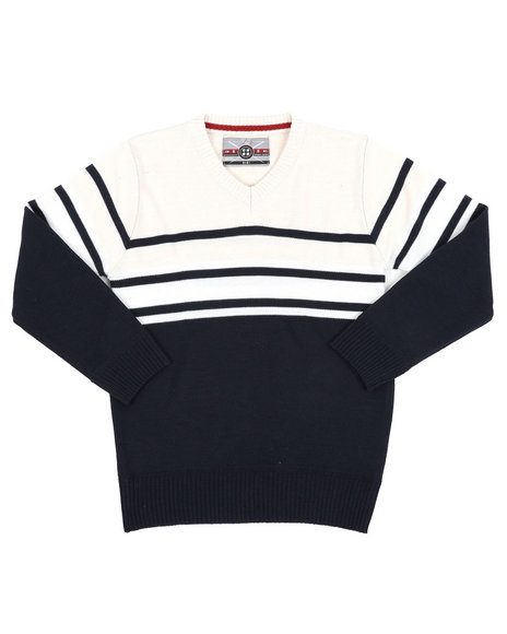 Arcade Styles - Striped Color Blocked V-Neck Sweater (8-18)