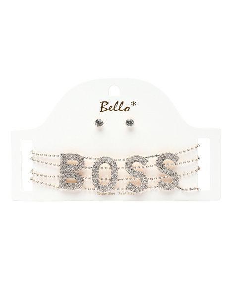 DRJ Jewelry Shoppe - Boss Word Choker & Earrings Set