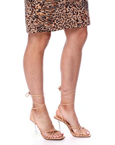 Fashion Lab - Strappy Clear Pedestal Heels