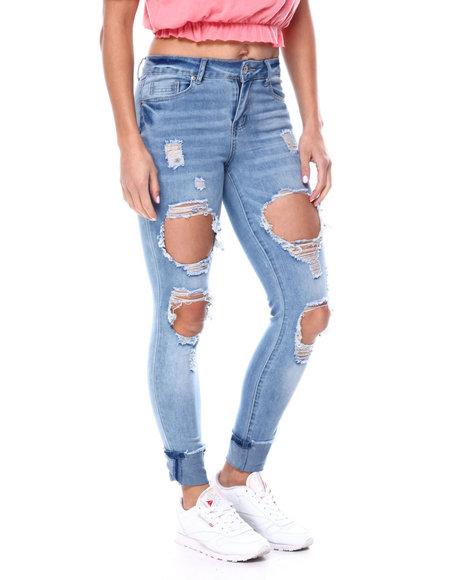 Fashion Lab - High Rise Blow Out Destruction Skinny Jean