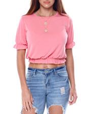 Fashion Lab - Short Ruffle Sleeve Crew Neck Top W/Ruffle Hem Detail-2461822
