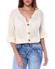 Sweaters - 3/4 Sleeve V Neck Button Detail Sweater-2461751