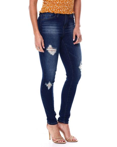 YMI Jeans - High Waisted Stretch Ripped 5 Pocket Skinny Jean