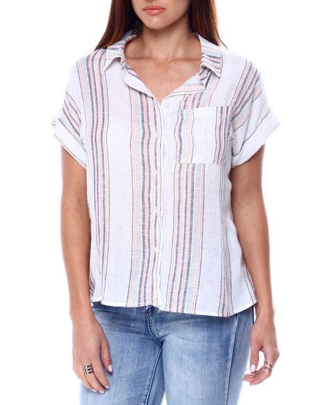 DEREK HEART - Stripe Lurex S/S Button Up