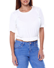 Women - Short Ruffle Sleeve Crew Neck Top W/Ruffle Hem Detail-2461837