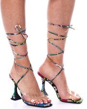 Fashion Lab - Neon Animal Print Strappy Pedestal Heels-2460573