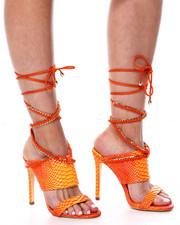 Azalea Wang - Snake Lace Up Heels-2460582