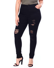 Bottoms - Destructed High Rise Super Stretch Skinny (Plus)-2462519