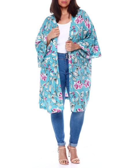 DEREK HEART - Floral Kimono W/Ruffle & Lace Trim Sleeves(Plus)