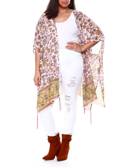 DEREK HEART - S/S Border Print Kimono W/ Tassel Detail