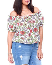 Tops - Printed Off The Shoulder S/S Ruffle Notch Frt W/Mock Tie Top(Plus)-2459788