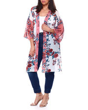 Tops - Georgette Floral Print Kimono W/Side Slit(Plus)-2460530