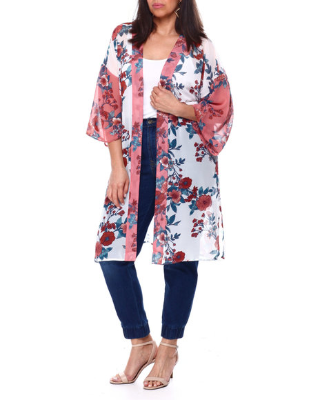 DEREK HEART - Georgette Floral Print Kimono W/Side Slit(Plus)