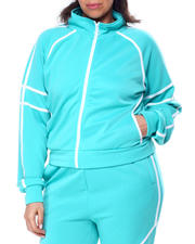 Plus Size - Tricot Track Jacket W/Tape Trim (Plus)-2461513